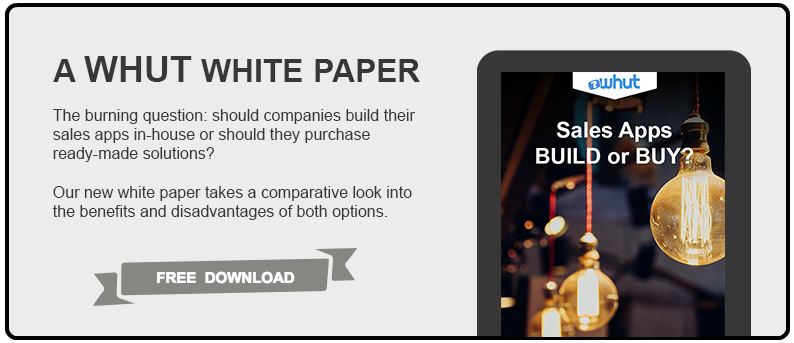 The burning question - should companies build their sales apps in-house or should they purchase ready-made solutions? WHUT Inc's white paper takes a comparative look into the benefits and disadvantages of both options.