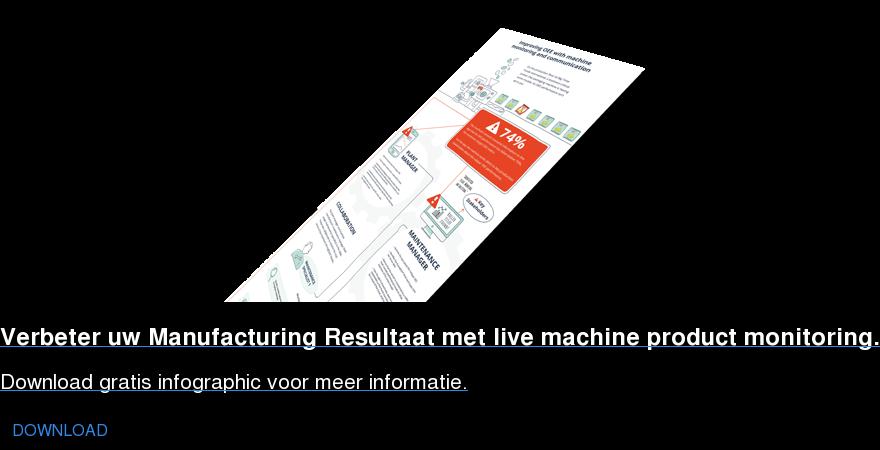 Verbeter uw Manufacturing Resultaat met live machine product monitoring. Download gratis infographic voor meer informatie. DOWNLOAD