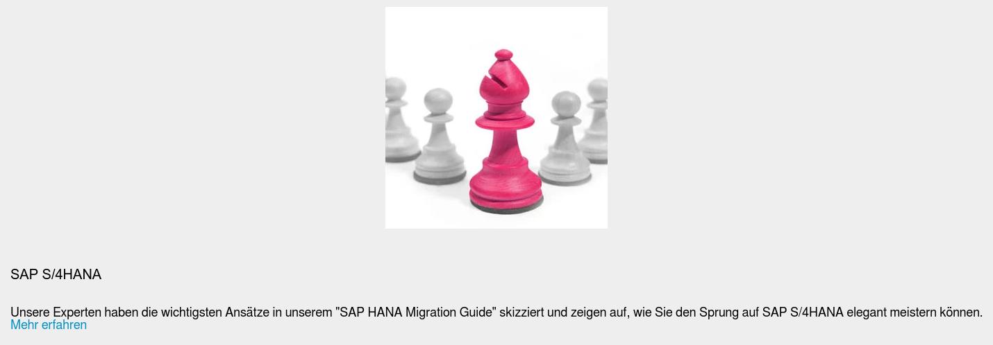 """SAP S/4HANA  Unsere Experten haben die wichtigsten Ansätze in unserem """"SAP HANA Migration  Guide"""" skizziert und zeigen auf, wie Sie den Sprung auf SAP S/4HANA elegant  meistern können. Mehr erfahren"""