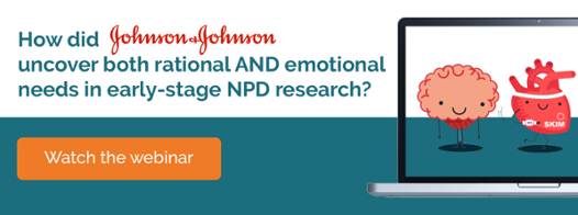 How did Johnson and Johnson uncover both rational and emotional needs in early stage NPD research?