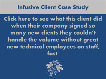 NYC IT Staffing Firm Infusive Solutions explains helping a client who needed bodies to handle increased business volume.