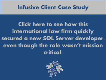 Infusive Solutions - a provider of technology staffing services in the Greater New York area - explains padding an international law firm's tech department with a strong bench of talent.