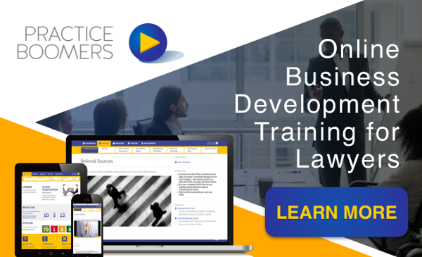 Practice Boomers - online business development training for lawyers. Learn more.