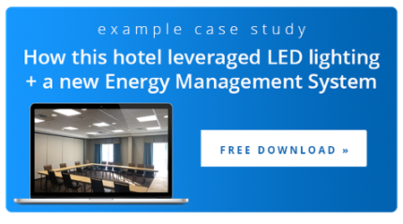 Hotel case study about using an energy management system with LED lighting for decreased energy consumption