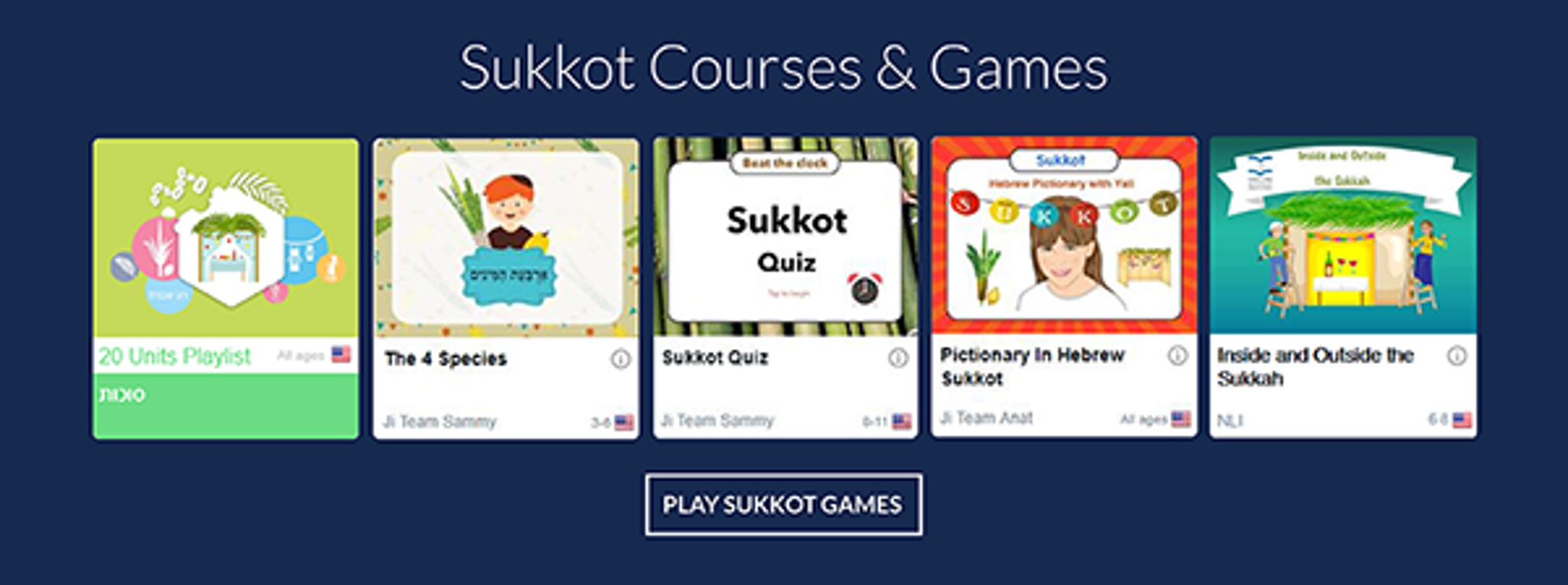 Sukkot Courses and  games