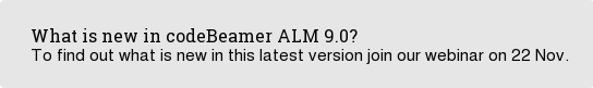 What is new in codeBeamer ALM 9.0? To find out what is new in this latest version join our webinar on 22 Nov.