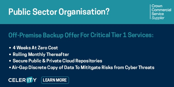 Celerity is offering 4 weeks free off-premise backup for critical tier 1 services - public organisations