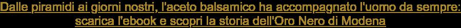 Dalle piramidi ai giorni nostri, l'aceto balsamico ha accompagnato l'uomo da  sempre: scarica l'ebook e scopri la storia dell'Oro Nero di Modena