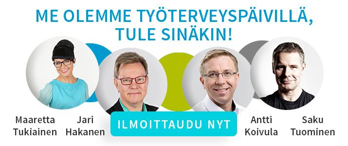 Maaretta Tukiainen, Jari Hakanen, Antti Koivula ja Saku Tuominen ovat Työterveyspäivillä. Tule sinäkin!