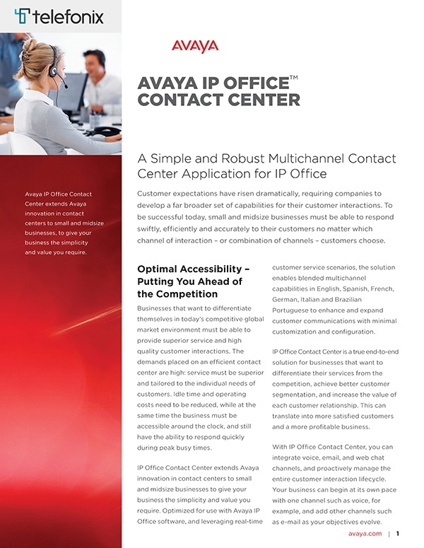 Telefonix Avaya IP Office Contact Centre Brochure