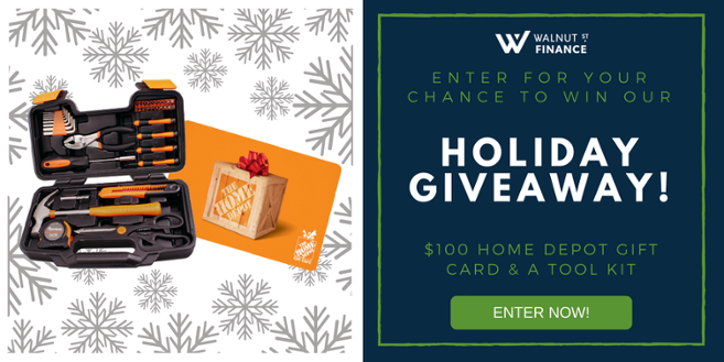 Walnut Street Finance Holiday Giveaway Free $100 Home Depot Gift Card