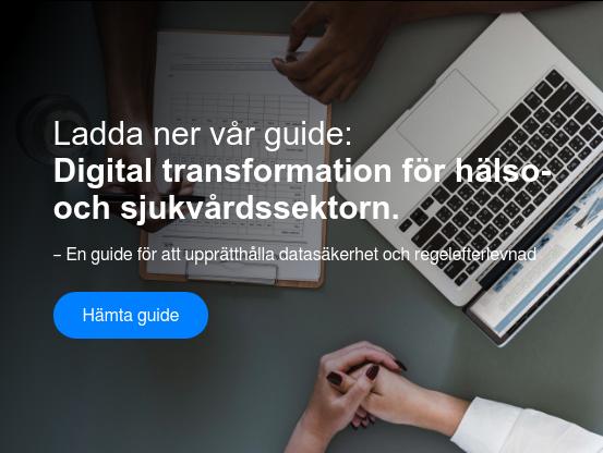 Ladda ner vår guide:  Digital transformation för hälso-   och sjukvårdssektorn.  – En guide för att upprätthålla datasäkerhet och regelefterlevnad Hämta guide  <https://www.visolit.se/guide-digital-transformation-for-halso-och-sjukvarden>