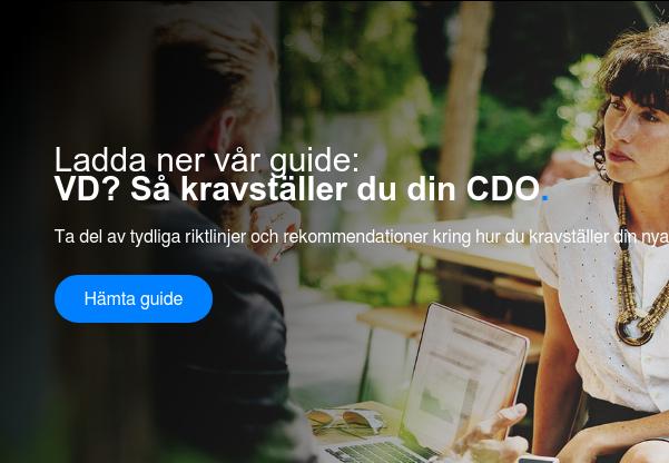 Ladda ner vår guide:  VD? Så kravställer du din CDO.  Ta del av tydliga riktlinjer och rekommendationer kring hur du kravställer din  nya digitaliseringsexpert! Hämta guide <>