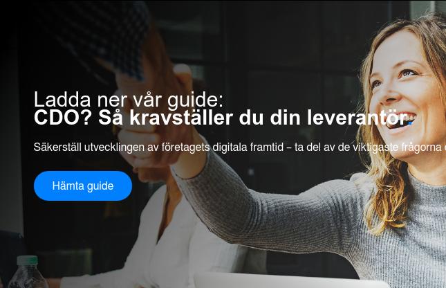 Ladda ner vår guide:  CDO? Så kravställer du din leverantör.  Säkerställ utvecklingen av företagets digitala framtid – ta del av de  viktigaste frågorna du måste ställa både dig själv och potentiella  samarbetspartners! Hämta guide <https://www.visolit.se/guide-cdo-kravstall-din-leverantor>