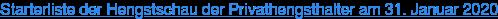 Starterliste der Hengstschau der Privathengsthalter am 31. Januar 2020