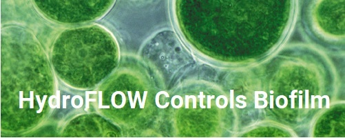 HydroFLOW physical water conditioning controls algae and biofilm in cooling towers