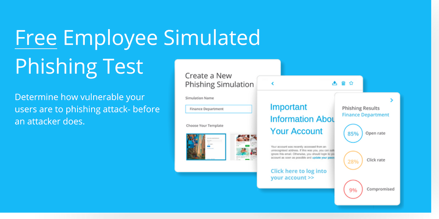 Free Employee simulated phishing test visual call to action