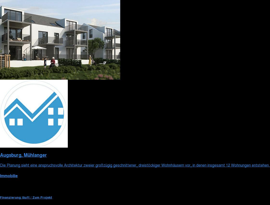Augsburg, Mühlanger  Die Planung sieht eine anspruchsvolle Architektur zweier großzügig  geschnittenen, dreistöckigen Wohnhäusern in denen insgesamt 12 Wohnungen  entstehen.  Immobilie  Fundingsumme 1.500.000 € Investmentart Nachrang  Finanzierung läuft / Zum Projekt  <https://www.zinsland.de/projekte/muehlanger-dinkelscherben?utm_source=securim&amp;utm_medium=affiliateCoop>