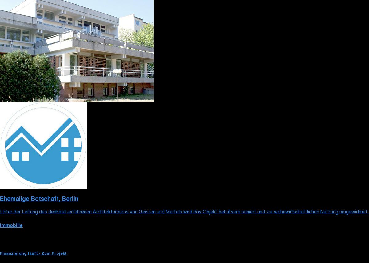 Ehemalige Botschaft, Berlin  Unter der Leitung des denkmal-erfahrenen Architekturbüros von Geisten und  Marfels wird das Objekt behutsam saniert und zur wohnwirtschaftlichen Nutzung  umgewidmet.  Immobilie  Fundingsumme 1.500.000 € Investmentart Nachrang  Finanzierung läuft / Jetzt investieren