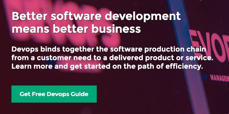 Better software development means better business. Devops binds together the software production chain from a customer need to a delivered product or service. Learn more and get started on the path of efficiency. Get free Devops Guide.
