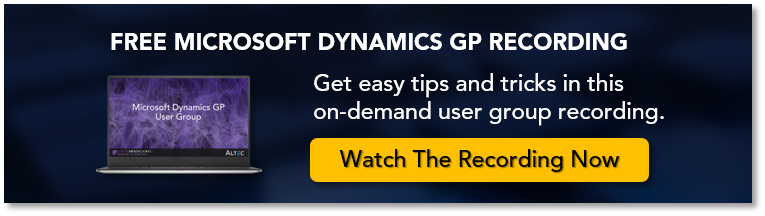 Click here to watch the on demand Microsoft Dynamics GP User Group