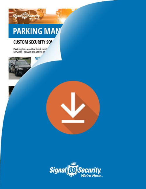 parking lot management and enforcement security services flyer Signal 88 Security