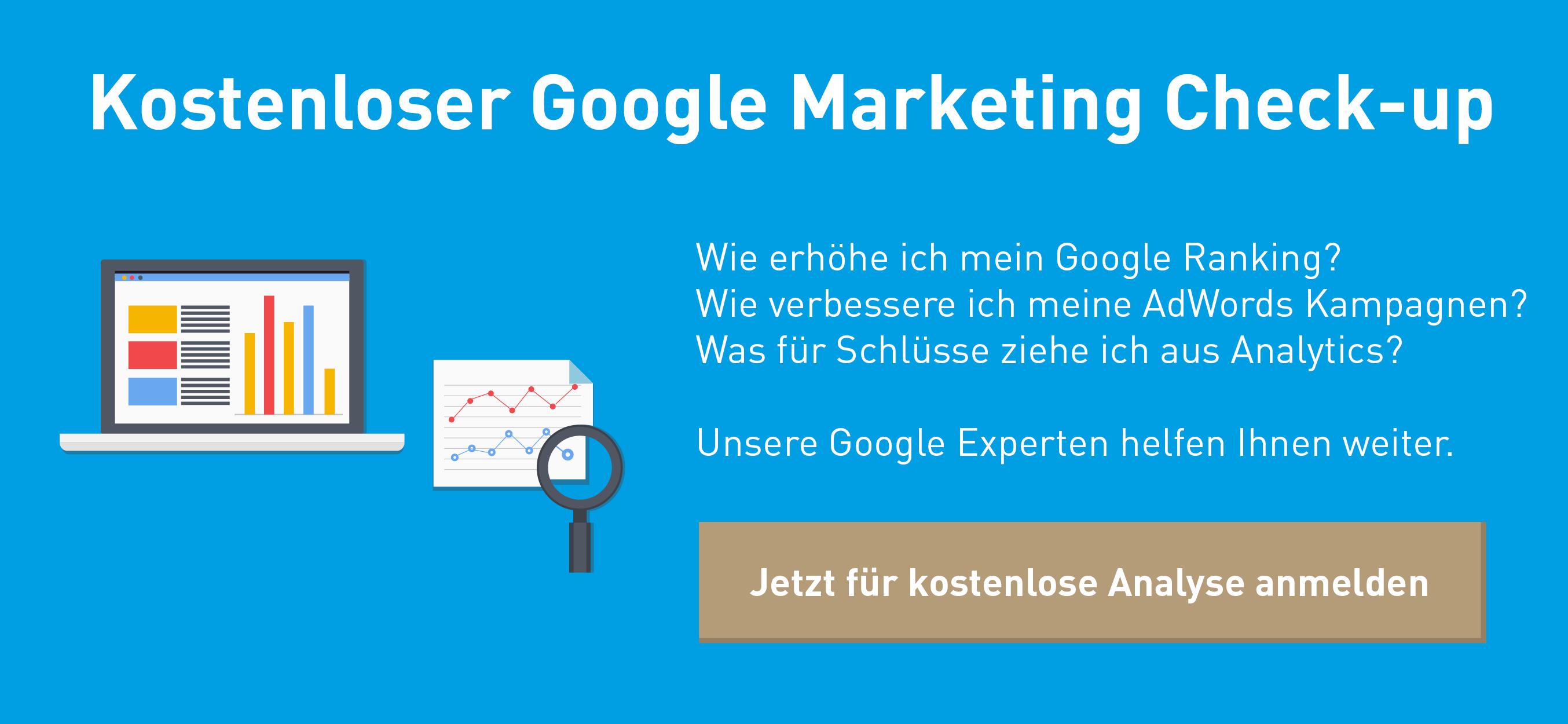 Anmeldung für kostenlosen Google Marketing Check-up