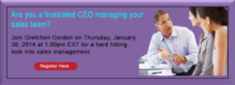CEO as Sales Manager January 30, 2014 Free Webinar