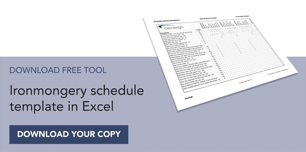 Denleigh free ironmongery schedule template