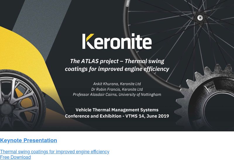 Keynote Presentation  Thermal swing coatings for improved engine efficiency Free Download