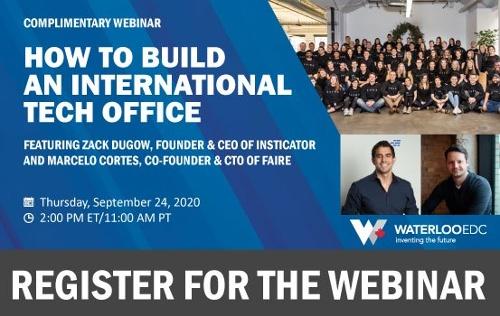 Register for the upcoming webinar: How to Build an International Tech Office, on Thursday, September 24, 2020 at 2:00 PM ET