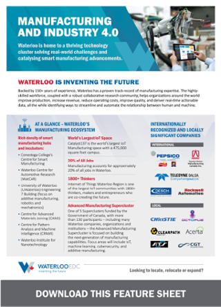 Waterloo EDC Manufacturing and Industry 4.0 Feature Sheet