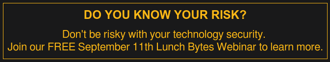 Do You Know Your Risk?  Don't be risky with your technology security.  Join our FREE September 11th Lunch Bytes Webinar to learn more.