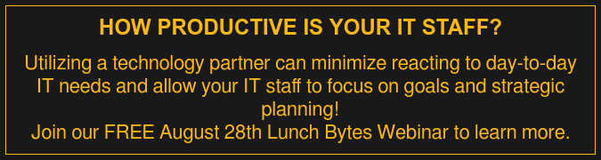 How Productive is Your IT Staff?  Utilizing a technology partner can minimize reacting to day-to-day IT needs  and allow your IT staff to focus on goals and strategic planning! Join our FREE August 28th Lunch Bytes Webinar to learn more.