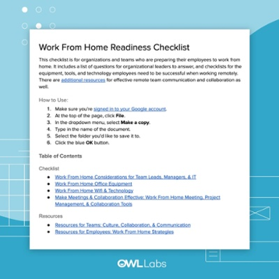 Work From Home Readiness Checklist