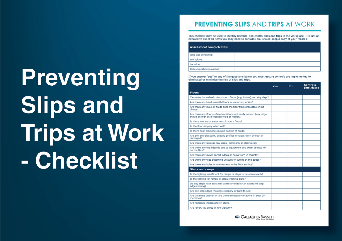 Preventing Slips and Trips at Work - Checklist