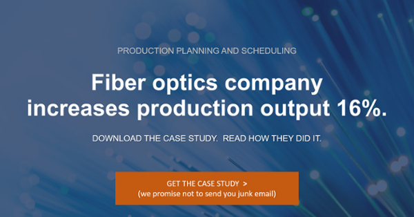 Fiber optics company increases production output by 16% with production planning and scheduling