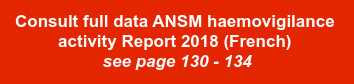 Consult full data ANSM haemovigilance   activity Report 2018 (French)   see page 130 - 134
