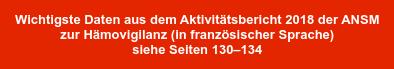 Wichtigste Daten aus dem Aktivitätsbericht 2018 der ANSM   zur Hämovigilanz (in französischer Sprache)   siehe Seiten 130–134
