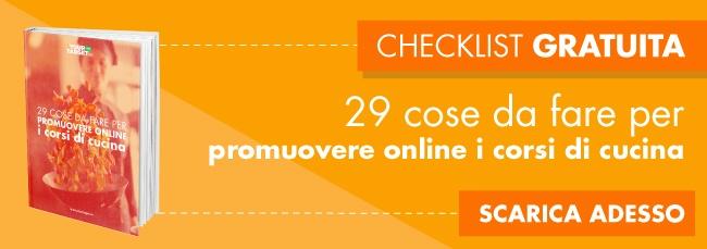29 cose da fare per promuovere online i corsi di cucina.
