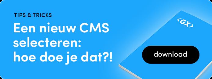 tips & tricks - nieuw CMS selecteren