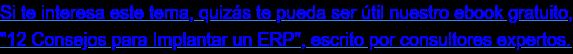 """Si te interesa este tema, quizás te pueda ser útil nuestro ebook gratuito,  """"12 Consejos para Implantar un ERP"""", escrito por consultores expertos."""