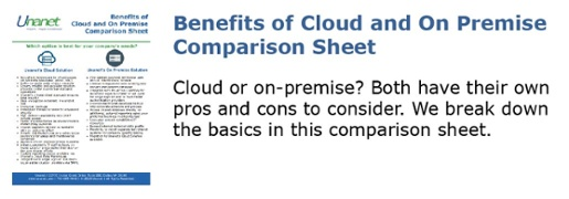 Benefits of Cloud and On Premise Comparison Sheet