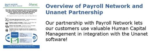 Brochures Payroll Network and Unanet Partnership