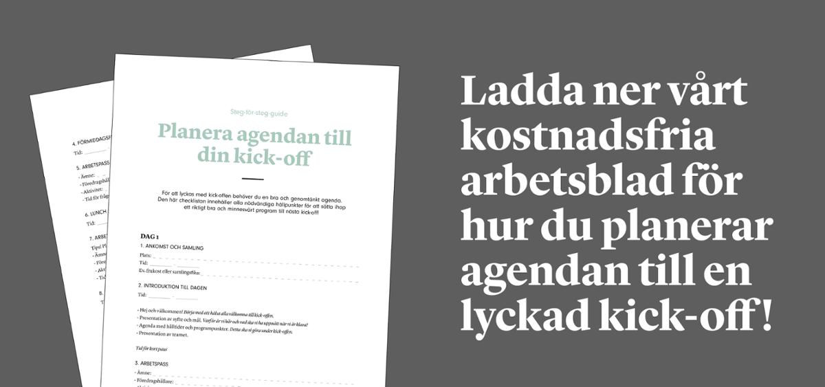 Arbetsblad: planera agendan till en lyckad kick-off