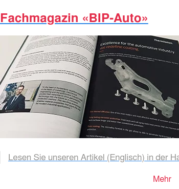 Fachmagazin «BIP-Auto»   Lesen Sie unseren Artikel (Englisch) in der Hauszeitschrift der PSA-Gruppe.  Das BIP-Auto Magazin wird mehrmals jährlich an die unterschiedlichen Werke und  Zulieferer verteilt. Mehr