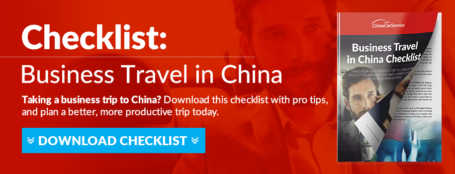 business travel in china checklist by china car service