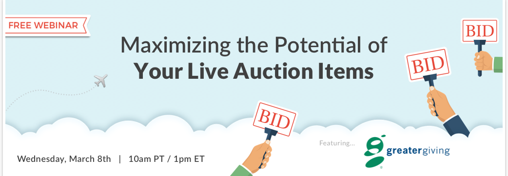 Join us for a free webinar with Stephen Kilbreath on how to maximize revenue on your next Benefit Auction