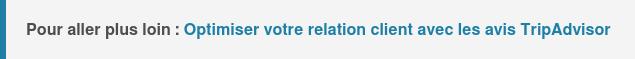 Pour aller plus loin :Optimiser votre relation client avec les avis clients  TripAdvisor