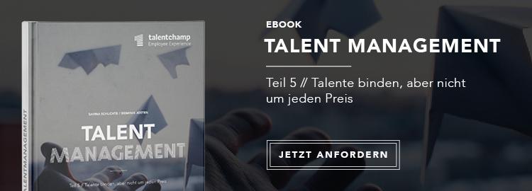 eBook 05 Talent Management - So binden Sie Talente langfristig. Und was passiert mit denen, die Sie nicht halten möchten? Kostenloses eBook anfordern!eBook 04 Talent Management: Warum Sie sich auf die Schulter klopfen können, wenn Ihre Talente anfangen Fehler zu machen. Das lesen Sie in unserem eBook zum Thema Talente entwickeln. Jetzt kostenlos anfordern!